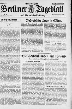 Berliner Tageblatt und Handels-Zeitung vom 24.01.1927