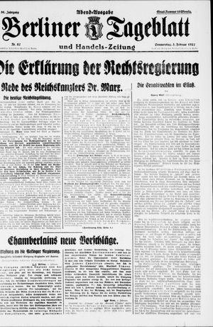 Berliner Tageblatt und Handels-Zeitung vom 03.02.1927