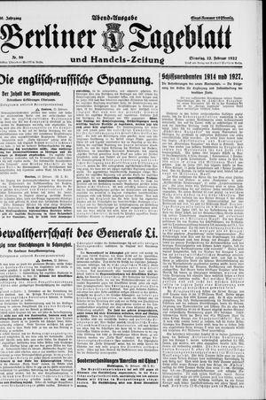 Berliner Tageblatt und Handels-Zeitung vom 22.02.1927