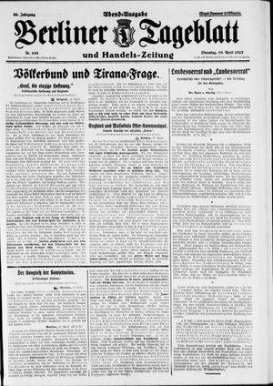 Berliner Tageblatt und Handels-Zeitung vom 19.04.1927