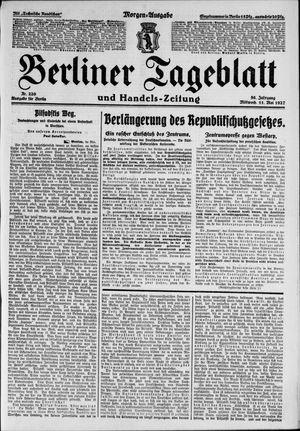 Berliner Tageblatt und Handels-Zeitung vom 11.05.1927