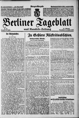 Berliner Tageblatt und Handels-Zeitung vom 14.01.1928
