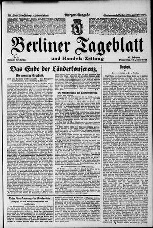 Berliner Tageblatt und Handels-Zeitung vom 19.01.1928