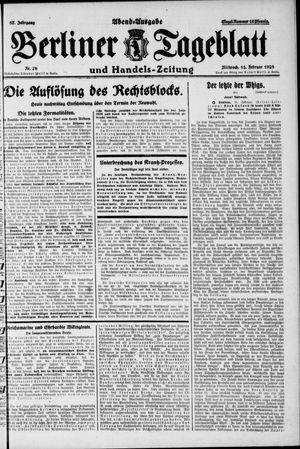 Berliner Tageblatt und Handels-Zeitung vom 15.02.1928