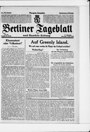 Berliner Tageblatt und Handels-Zeitung vom 15.04.1928