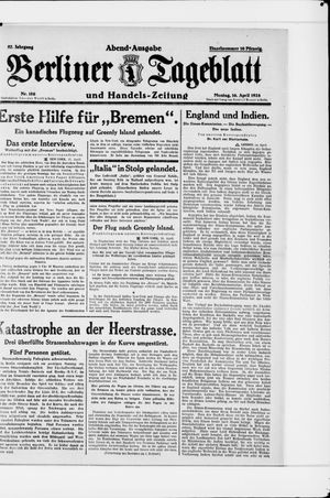 Berliner Tageblatt und Handels-Zeitung vom 16.04.1928