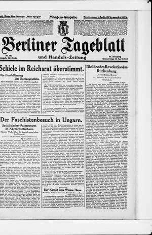 Berliner Tageblatt und Handels-Zeitung vom 19.04.1928