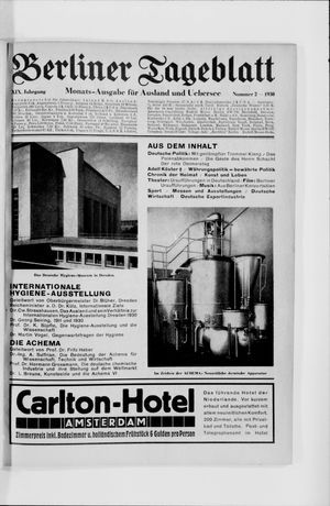 Berliner Tageblatt und Handels-Zeitung vom 03.02.1930
