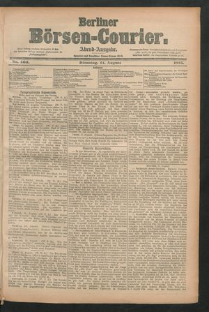 Berliner Börsen-Courier vom 11.08.1885