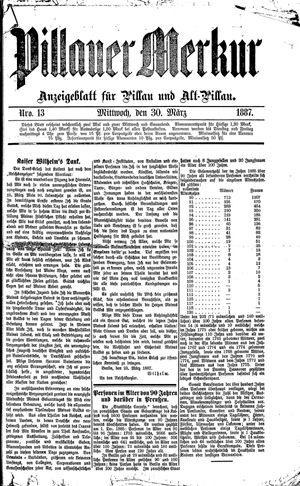 Pillauer Merkur vom 30.03.1887
