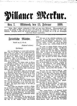 Pillauer Merkur vom 13.02.1889