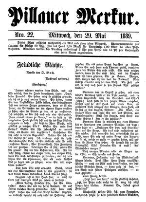 Pillauer Merkur vom 29.05.1889
