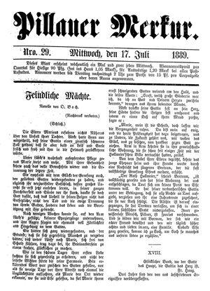 Pillauer Merkur vom 17.07.1889