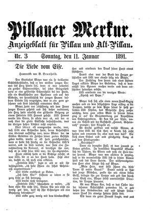 Pillauer Merkur vom 11.01.1891