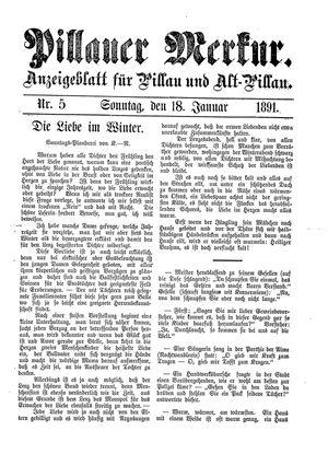 Pillauer Merkur vom 18.01.1891