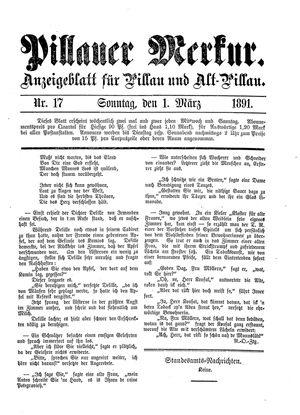 Pillauer Merkur vom 01.03.1891