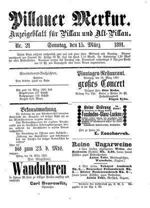 Pillauer Merkur vom 15.03.1891