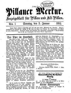 Pillauer Merkur vom 03.01.1892