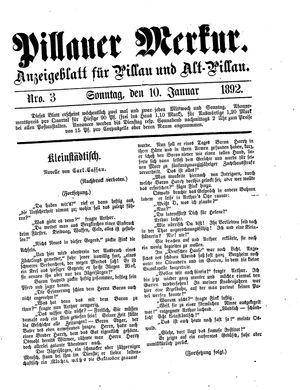 Pillauer Merkur vom 10.01.1892