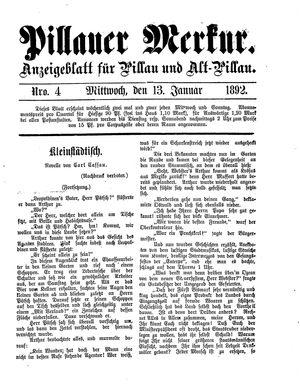 Pillauer Merkur vom 13.01.1892