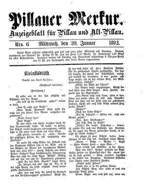 Pillauer Merkur vom 20.01.1892
