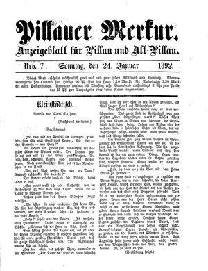 Pillauer Merkur vom 24.01.1892