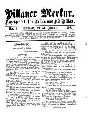 Pillauer Merkur vom 31.01.1892