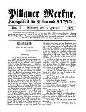 Pillauer Merkur vom 03.02.1892