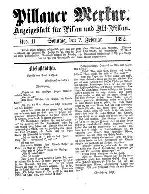 Pillauer Merkur vom 07.02.1892