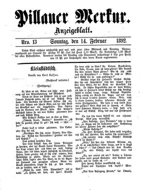 Pillauer Merkur vom 14.02.1892