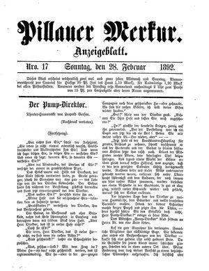 Pillauer Merkur vom 28.02.1892