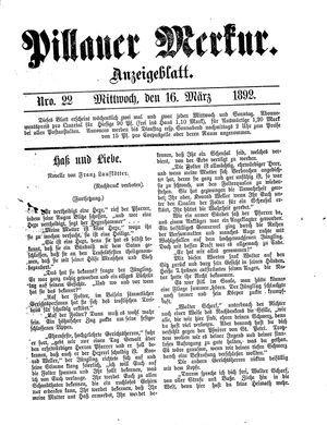 Pillauer Merkur vom 16.03.1892