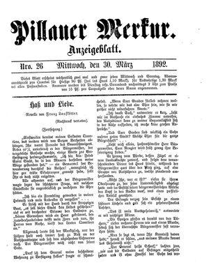 Pillauer Merkur vom 30.03.1892