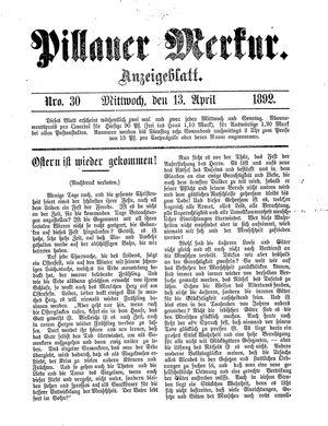 Pillauer Merkur vom 13.04.1892