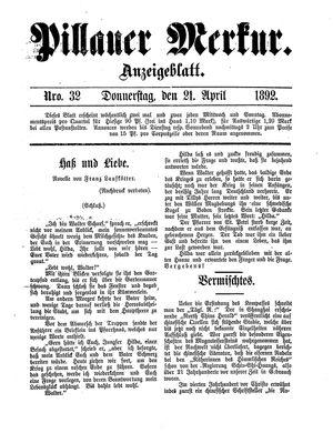Pillauer Merkur vom 21.04.1892