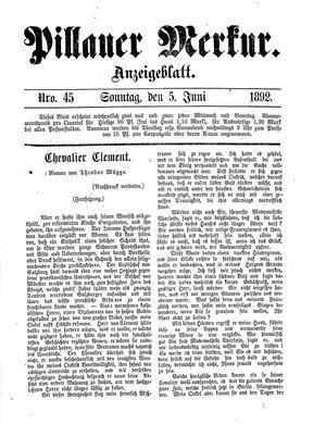 Pillauer Merkur vom 05.06.1892
