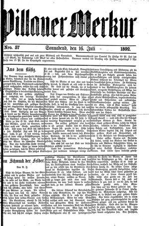 Pillauer Merkur vom 16.07.1892