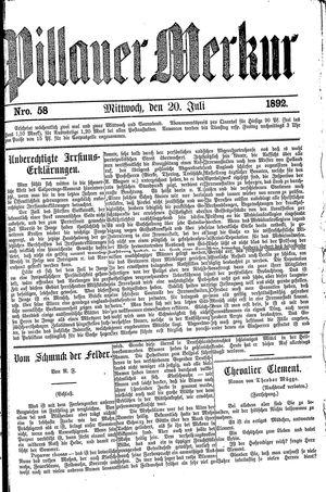 Pillauer Merkur vom 20.07.1892