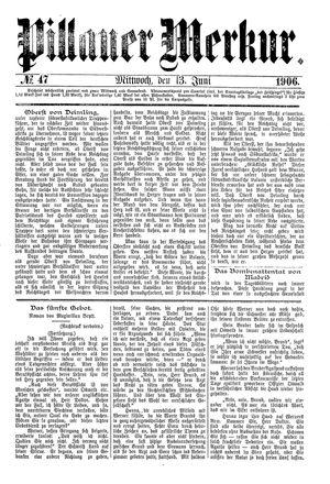 Pillauer Merkur vom 13.06.1906