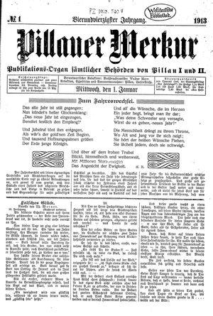 Pillauer Merkur vom 01.01.1913
