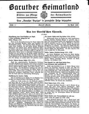 Baruther Heimatland vom 24.04.1933