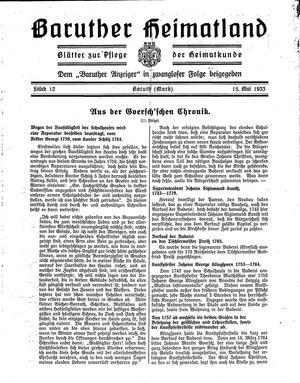 Baruther Heimatland vom 15.05.1933