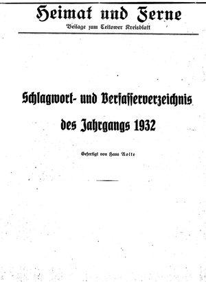 Heimat und Ferne vom 23.01.1933