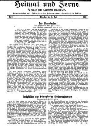 Heimat und Ferne vom 02.05.1933