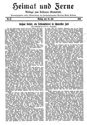 Heimat und Ferne vom 10.07.1933