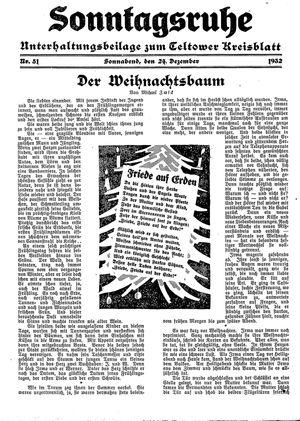 Sonntagsruhe vom 24.12.1932