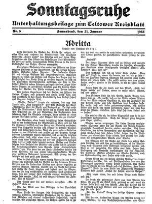 Sonntagsruhe vom 21.01.1933