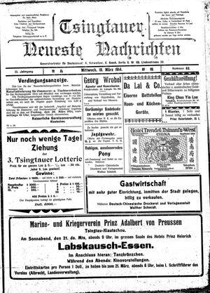 Tsingtauer neueste Nachrichten vom 18.03.1914