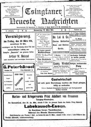 Tsingtauer neueste Nachrichten vom 19.03.1914