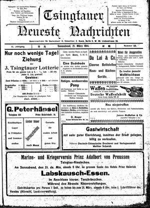 Tsingtauer neueste Nachrichten on Mar 21, 1914